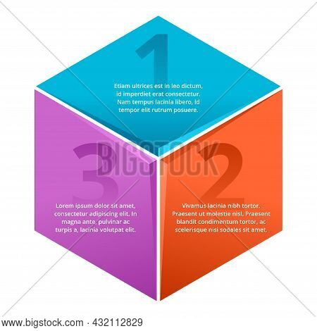 Rhombic Infographic Template. 3 Steps Or Points In Different Colors And Main Title Inside With Sampl