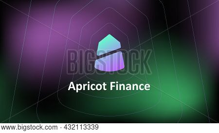 Apricot Finance Defi Protocol On The Solana Blockchain On An Abstract Background. Banner For News Or
