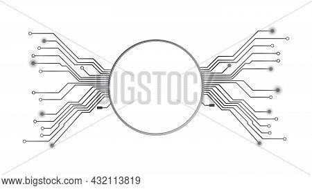 Design Element In Techno Style With Copy Space Silver Circle With Pcb Tracks Isolated On White. Temp