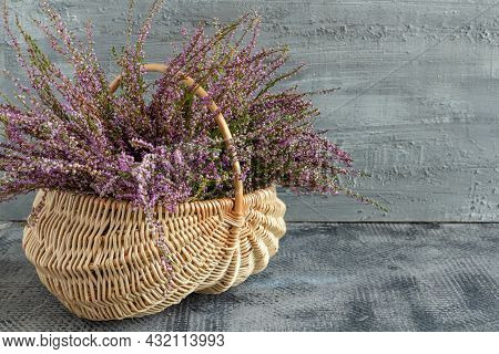 Basket With Flowers On A Concrete Background, Lilac Heather