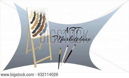 Nft Marketplace Auction Non Fungible Tokens Banner With Easel And Brushes Isolated On White. New Tre