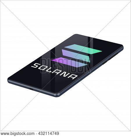 Solana Sol Symbol Logo On Realistic Mobile Phone Isolated On White. Vector Illustration.