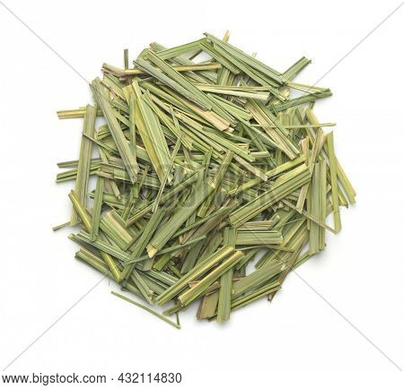 Top view of dried lemongrass herb isolated on white