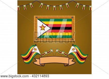 Zimbabwe Flags On Frame Wood, Label, Simple Gradient And Vector Illustration