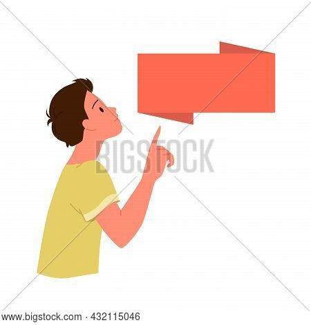 Child Boy Pointing Finger On Banner Blank Poster With Empty Copy Space Area For Text