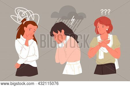 Sad Unhappy Woman In Stress Depression Mental Problem, Young Lonely Depressed Girl Crying