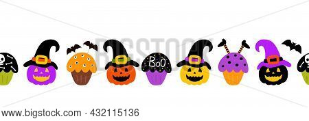 Seamless Border For The Holiday Halloween. Pumpkins In Witch Hats And Sweets Cupcakes With A Bat, A