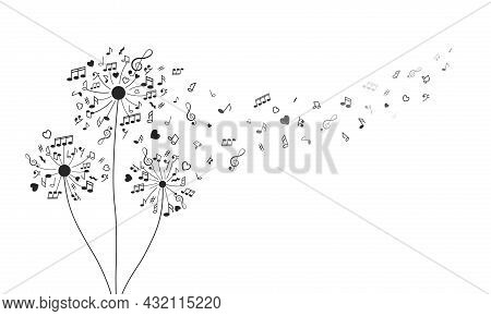 Fluffy Dandelions In The Form Of Notes, Musical Signs And Treble Clefs. Love For Music. Vector Illus