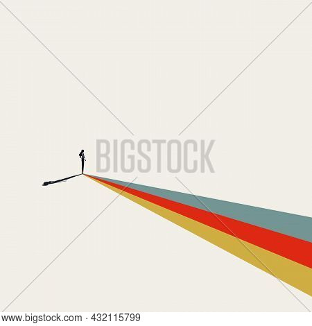Business Or Career Path For Woman Abstract Vector Concept. Symbol Of Ambition, Motivation, Vision. M