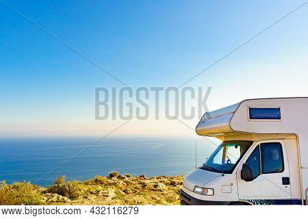 Caravan Rv On Coast, Mesa Roldan Location, Cabo De Gata Nijar Natural Park In Almeria Province, Anda