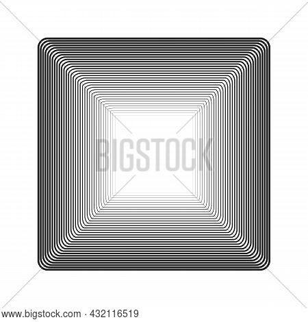 Concentric Lines With Different Width That Makes A Square Frame. Halftone Border With Copy Space. Te
