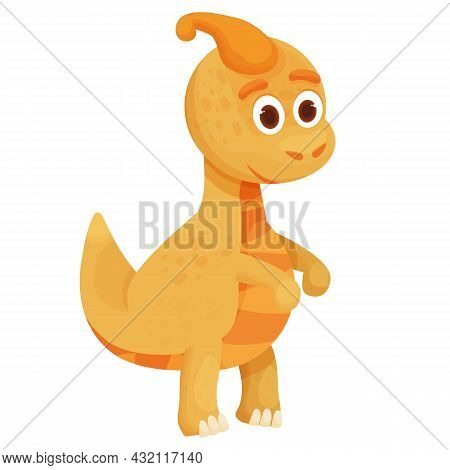 Dinosaur, Baby Animal Fantasy Fossil Animal In Cartoon Style Isolated On White Background. Cute Dino