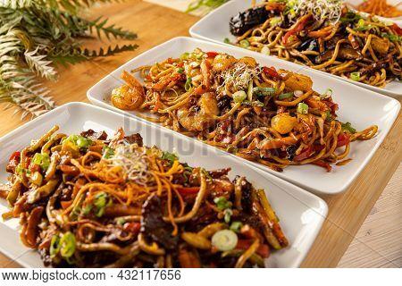 Close Up Of Various Asian Food. Asian Cuisine