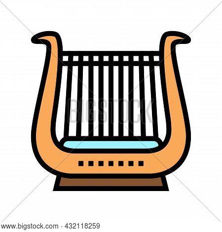 Lyre Musician Instrument Greece Color Icon Vector. Lyre Musician Instrument Greece Sign. Isolated Sy