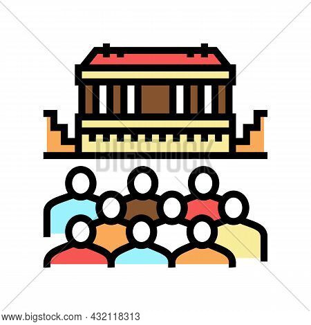 Theater Ancient Greece Color Icon Vector. Theater Ancient Greece Sign. Isolated Symbol Illustration