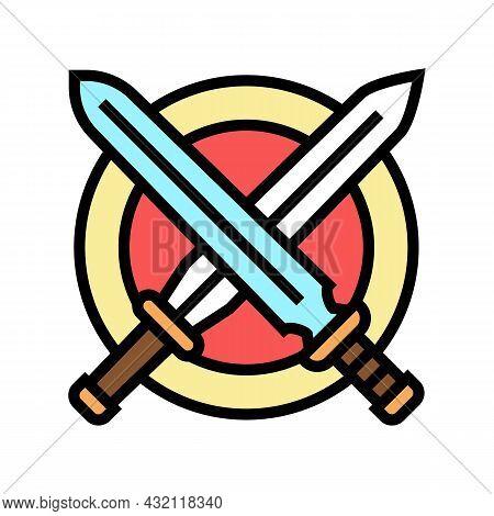 Crossed Sword Ancient Greece Color Icon Vector. Crossed Sword Ancient Greece Sign. Isolated Symbol I