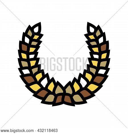 Laurel Wreath Ancient Rome Color Icon Vector. Laurel Wreath Ancient Rome Sign. Isolated Symbol Illus