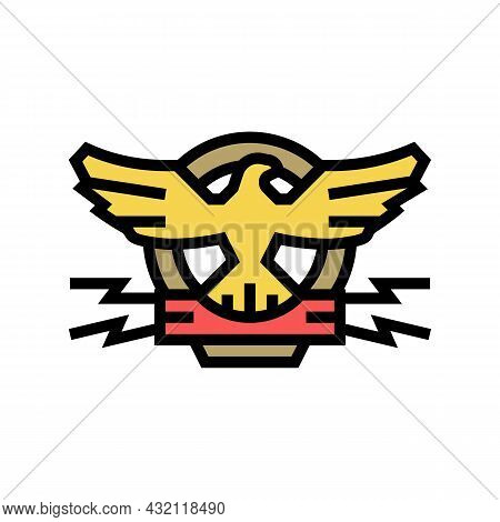 Coat Of Arms With Eagle Color Icon Vector. Coat Of Arms With Eagle Sign. Isolated Symbol Illustratio