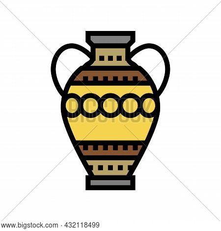Amphora Ancient Rome Color Icon Vector. Amphora Ancient Rome Sign. Isolated Symbol Illustration