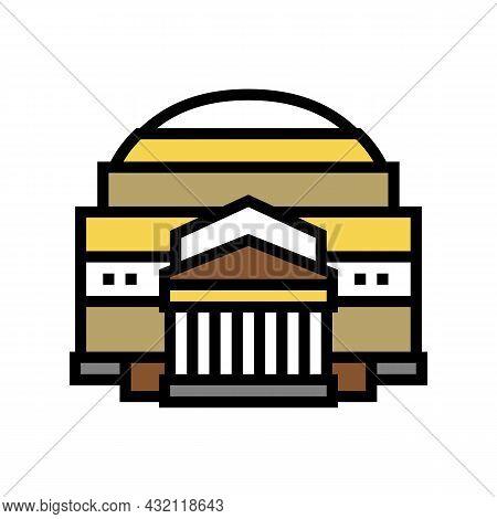 Pantheon Ancient Rome Building Color Icon Vector. Pantheon Ancient Rome Building Sign. Isolated Symb