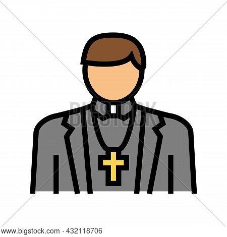 Catholic Religion Color Icon Vector. Catholic Religion Sign. Isolated Symbol Illustration