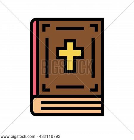 Bible Christianity Book Color Icon Vector. Bible Christianity Book Sign. Isolated Symbol Illustratio