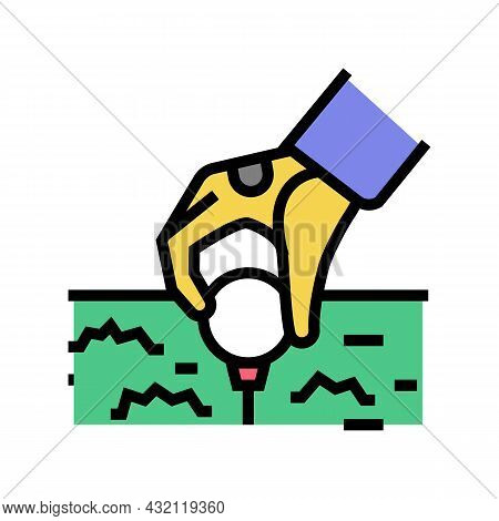 Golf Player Putting Ball On Tee Stand Color Icon Vector. Golf Player Putting Ball On Tee Stand Sign.