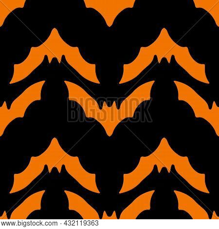 Vector Seamless Pattern Of A Black Bat Silhouette On An Orange Background For A Halloween .vector Se
