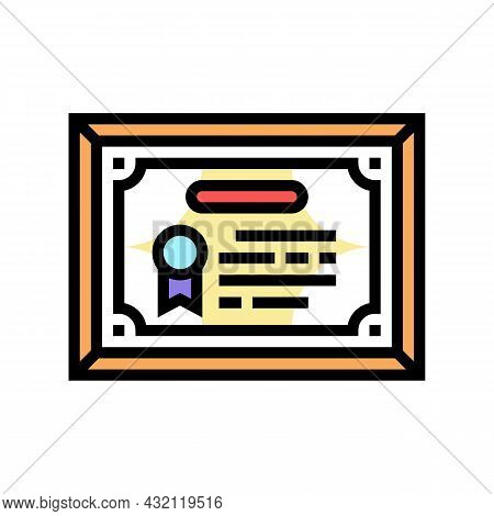 Diploma Or Educational Certificate Color Icon Vector. Diploma Or Educational Certificate Sign. Isola