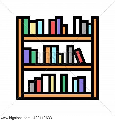 Library Shelf With Books Color Icon Vector. Library Shelf With Books Sign. Isolated Symbol Illustrat