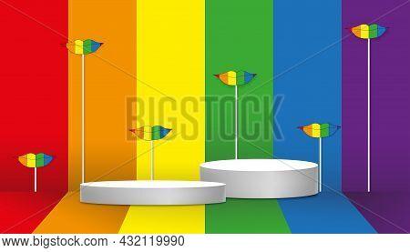 Empty Wall Studio Room With White Podium Display On Rainbow Pride Lgbt Flag Backgroud, Vector Illust