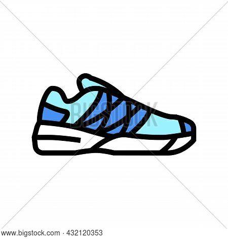 Women Tennis Shoe Color Icon Vector. Women Tennis Shoe Sign. Isolated Symbol Illustration