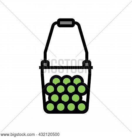 Ball Hopper Tennis Color Icon Vector. Ball Hopper Tennis Sign. Isolated Symbol Illustration