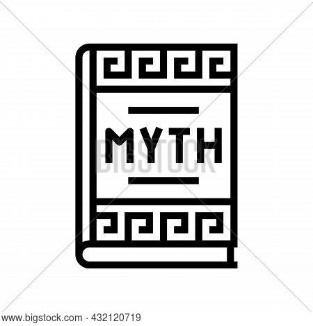 Myth Book Ancient Greece Line Icon Vector. Myth Book Ancient Greece Sign. Isolated Contour Symbol Bl