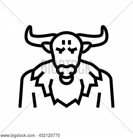 Minotaur Ancient Greece Line Icon Vector. Minotaur Ancient Greece Sign. Isolated Contour Symbol Blac