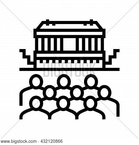 Theater Ancient Greece Line Icon Vector. Theater Ancient Greece Sign. Isolated Contour Symbol Black