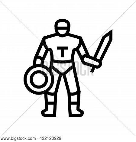 Gladiator Ancient Greece Warrior Line Icon Vector. Gladiator Ancient Greece Warrior Sign. Isolated C