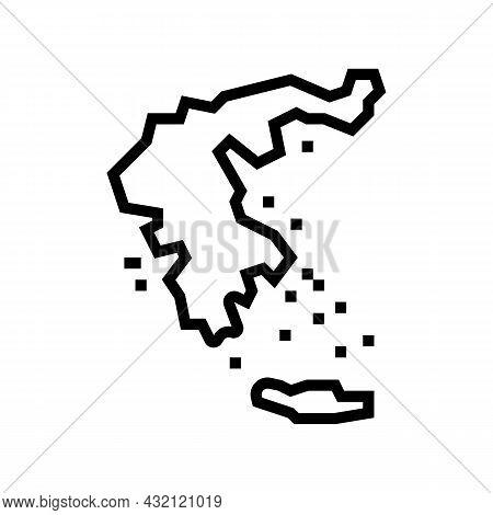 Greece Map Civilization Line Icon Vector. Greece Map Civilization Sign. Isolated Contour Symbol Blac
