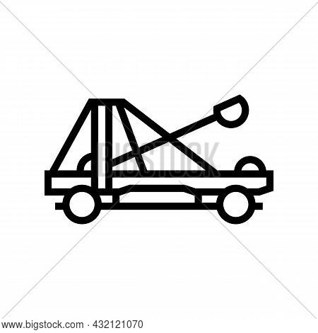Catapult Weapon Ancient Rome Line Icon Vector. Catapult Weapon Ancient Rome Sign. Isolated Contour S