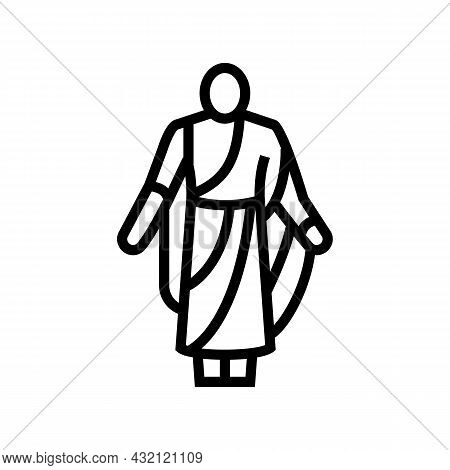 Toga Ancient Rome Line Icon Vector. Toga Ancient Rome Sign. Isolated Contour Symbol Black Illustrati
