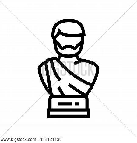 Statue Ancient Rome Line Icon Vector. Statue Ancient Rome Sign. Isolated Contour Symbol Black Illust