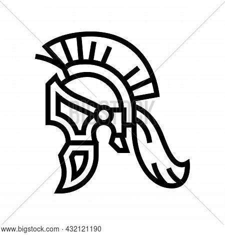 Legionary Helmet Ancient Rome Line Icon Vector. Legionary Helmet Ancient Rome Sign. Isolated Contour