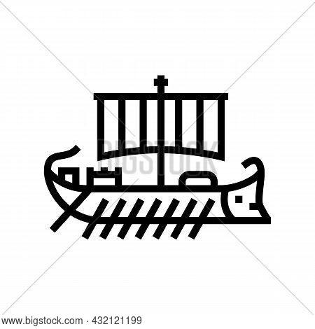 Ship Ancient Rome Line Icon Vector. Ship Ancient Rome Sign. Isolated Contour Symbol Black Illustrati