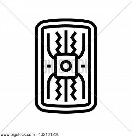 Warrior Shield Ancient Rome Line Icon Vector. Warrior Shield Ancient Rome Sign. Isolated Contour Sym