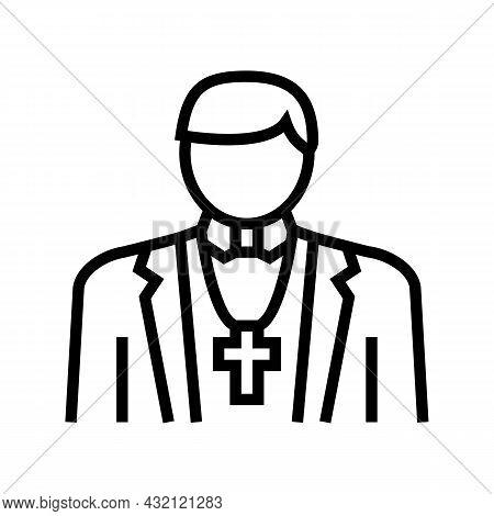 Catholic Religion Line Icon Vector. Catholic Religion Sign. Isolated Contour Symbol Black Illustrati