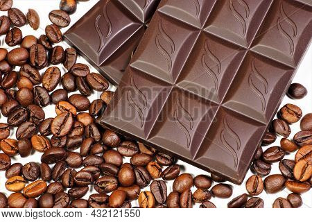 Chocolate Bar Is A Confectionery Product, A Popular Aromatic Sweet Delicacy Made From Cocoa. And Cof