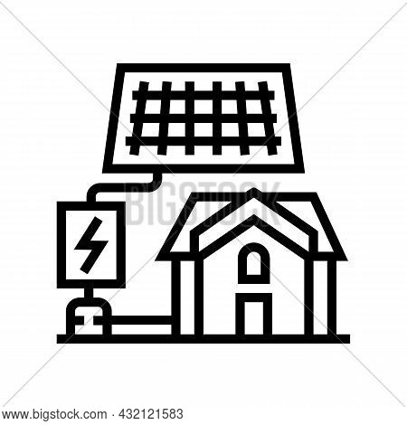 Solar Electricity Installation Line Icon Vector. Solar Electricity Installation Sign. Isolated Conto