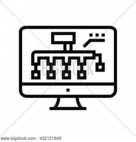 Hvac Layout Design Line Icon Vector. Hvac Layout Design Sign. Isolated Contour Symbol Black Illustra