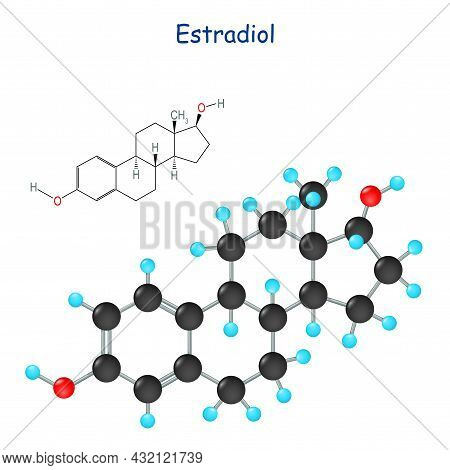 Estradiol Hormones Molecular Formula. Female Sex Hormone Symbol Isolated On A White Background. Chem
