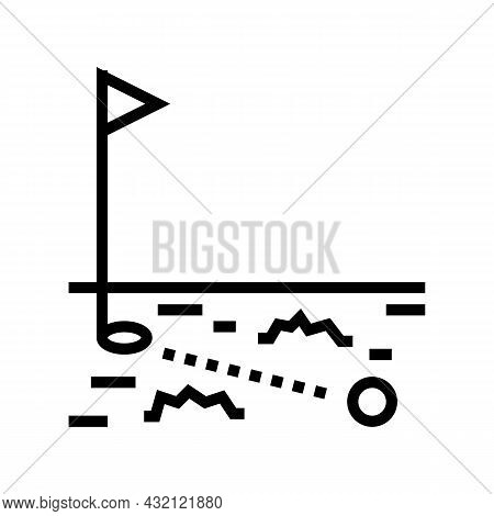 Ball Running In Golf Hole Line Icon Vector. Ball Running In Golf Hole Sign. Isolated Contour Symbol